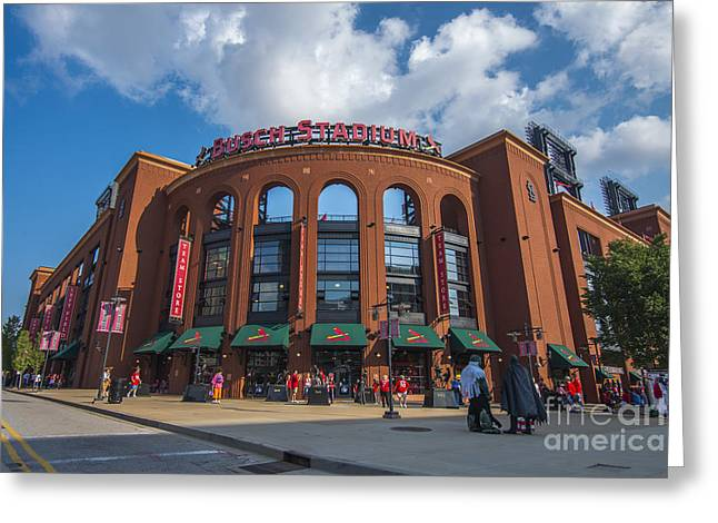 Boys Of Summer Greeting Cards - Busch Stadium Clouds Greeting Card by David Haskett