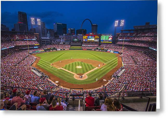 Arch Greeting Cards - Busch Stadium St. Louis Cardinals Night Game Greeting Card by David Haskett