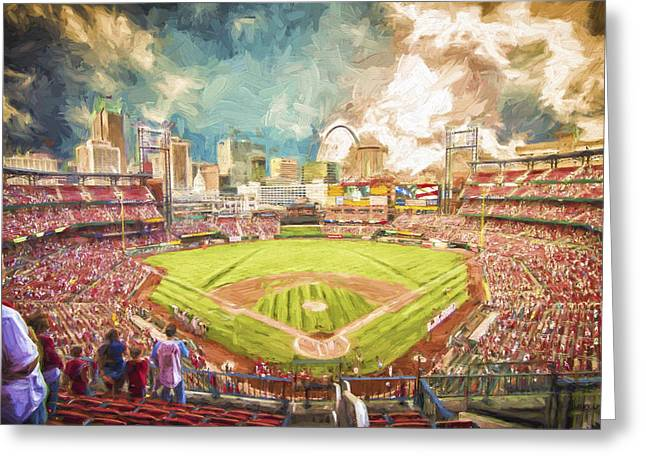 Busch Greeting Cards - Busch Stadium St. Louis Cardinals Day Paint Greeting Card by David Haskett