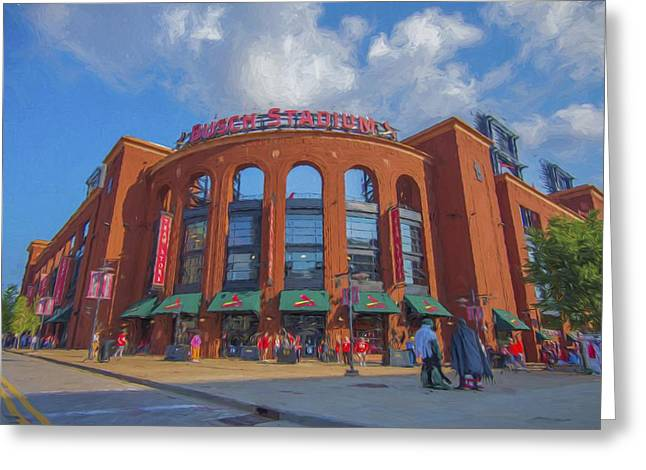 Digital Paint Greeting Cards - Busch Stadium St. Louis Cardinals Paint Blue Greeting Card by David Haskett