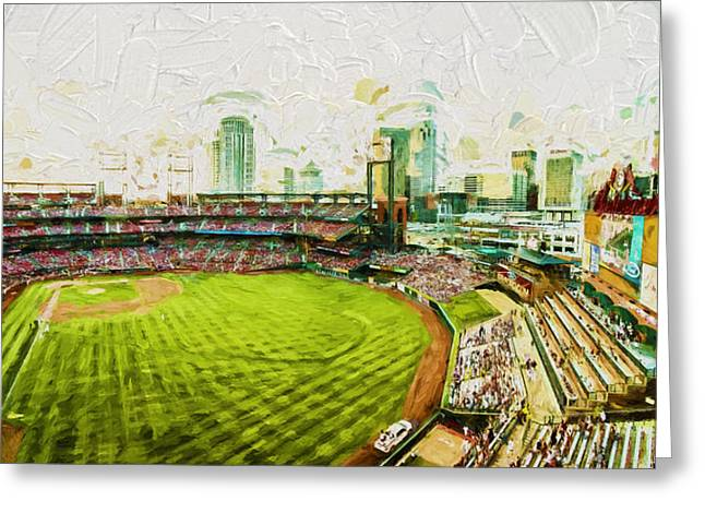 Stan Musial Greeting Cards - Busch Stadium St. Louis Cardinals Paint Top View Greeting Card by David Haskett