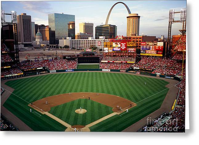 Busch Greeting Cards - Busch Stadium Greeting Card by Tracy Knauer