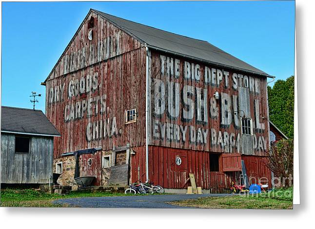 Ghost Signs Greeting Cards - Bush and Bull Roadside Barn Greeting Card by Paul Ward