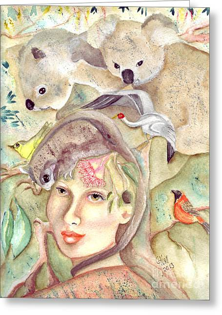 Rosy Hall Greeting Cards - Bush Whispers Greeting Card by Rosy Hall