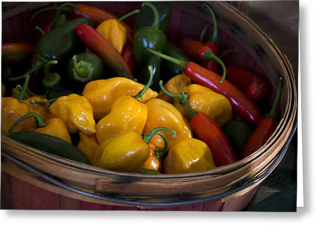 Yellow Pepper Greeting Cards - Bushel of Peppers Greeting Card by Julie Palencia