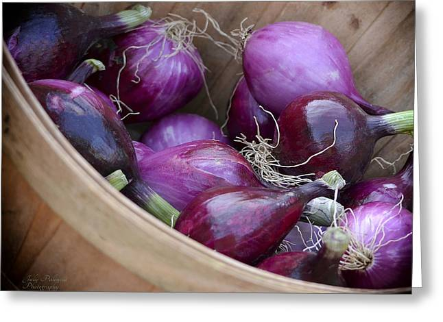 Julie Palencia Greeting Cards - Bushel of Red Onions Farmers Market Greeting Card by Julie Palencia