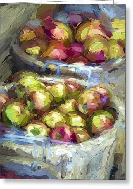 Edibles Greeting Cards - Bushels of Apples Digital Painting Greeting Card by Julie Palencia