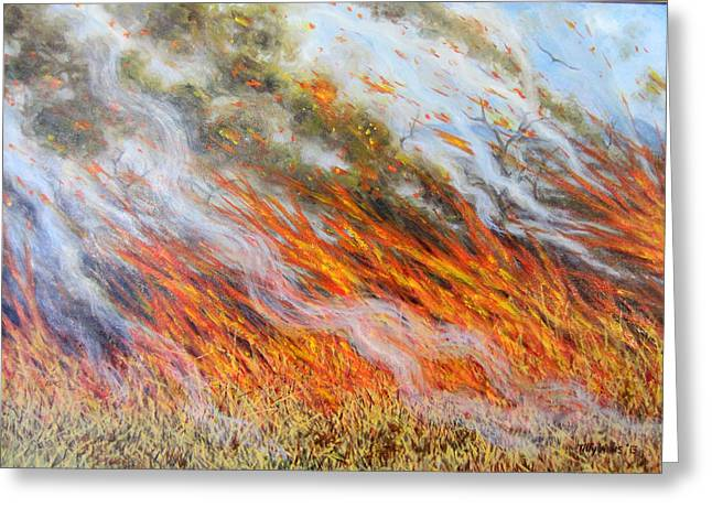Choking Greeting Cards - Bushfire Inferno, 2014, Oil On Canvas Greeting Card by Tilly Willis