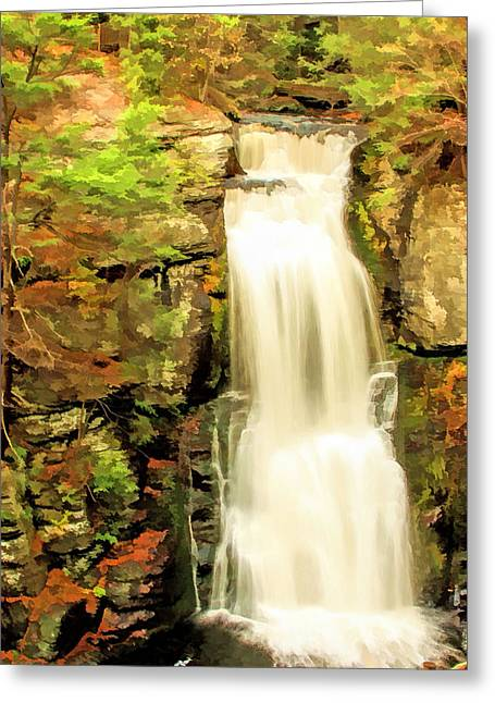 Photogrpah Greeting Cards - bushkill falls bushkill PA  Greeting Card by Geraldine Scull