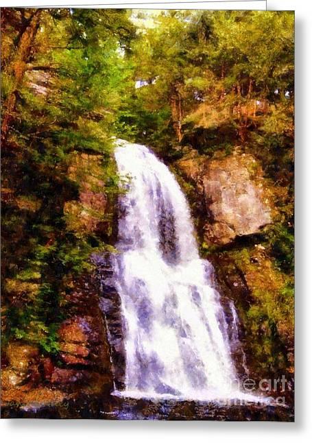 Stream Digital Greeting Cards - Bushkill Falls  Greeting Card by Janine Riley