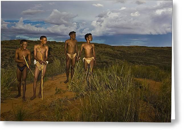 Ethnic Print Greeting Cards - Bushmen - Desert Hunters 01 Greeting Card by Basie Van Zyl