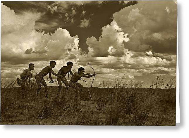 Ethnic Print Greeting Cards - Bushmen - Desert Hunters 05 Greeting Card by Basie Van Zyl