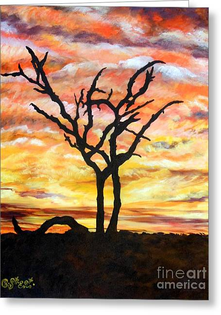 Carolinestreetart Greeting Cards - Bushveld Silhouette Greeting Card by Caroline Street