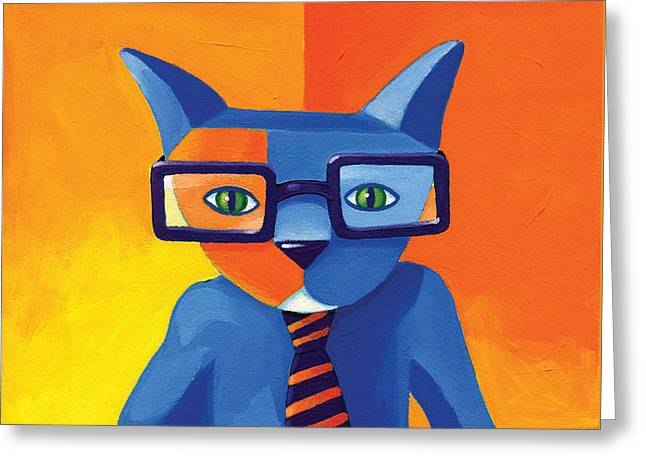 Business Cat Greeting Card by Mike Lawrence