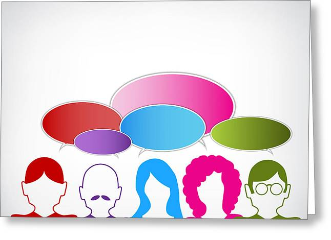 Speech Balloon Greeting Cards - Business Discussion Greeting Card by John Takai