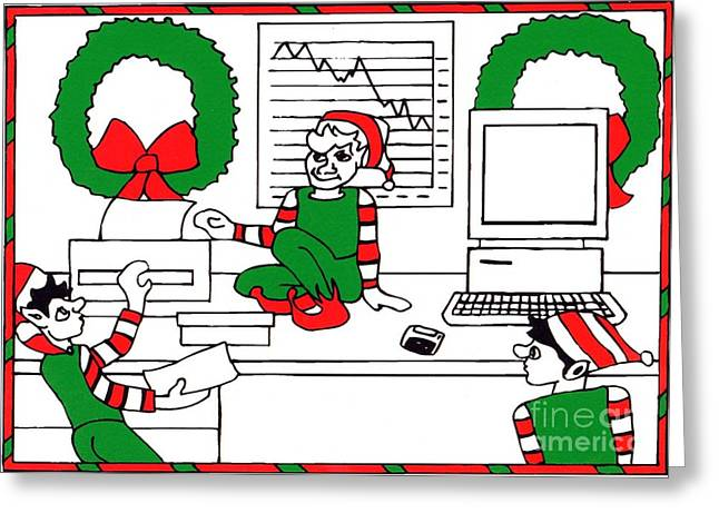 Business Elves Greeting Card by Genevieve Esson