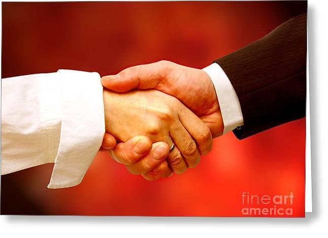 Negotiating Greeting Cards - Business handshake Greeting Card by Michal Bednarek