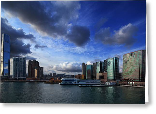 Kowloon Greeting Cards - Business Harbour Greeting Card by Afrison Ma