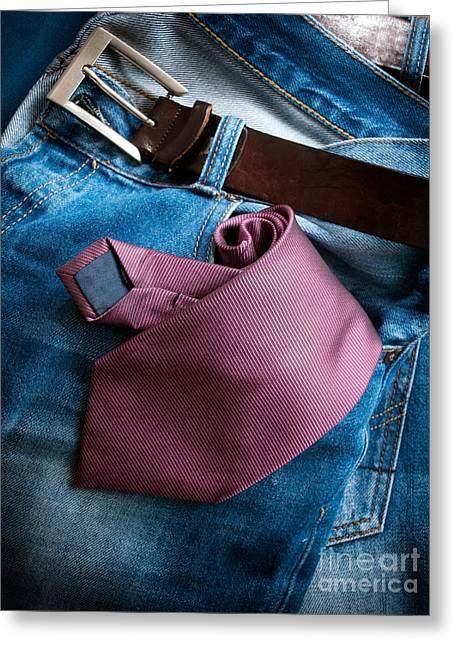 Casual Blue Jeans Greeting Cards - Business in jeans Greeting Card by Sinisa Botas