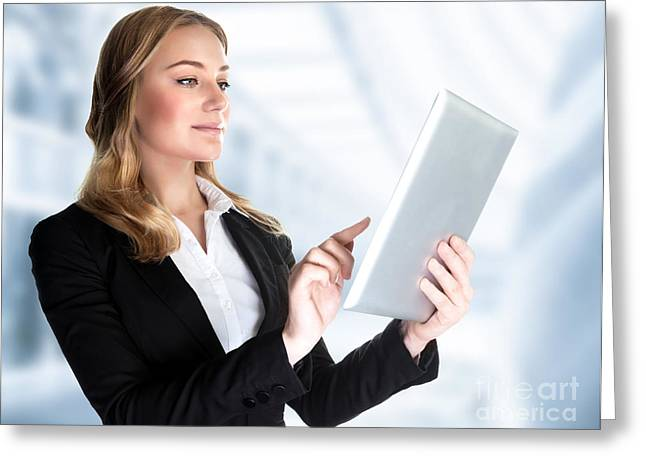 Businesspeople Greeting Cards - Business lady with touch pad Greeting Card by Anna Omelchenko