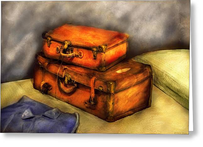 Traveling Salesman Greeting Cards - Business Man - Packed Suitcases Greeting Card by Mike Savad