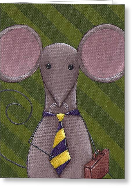 Neck Tie Greeting Cards - Business Mouse Greeting Card by Christy Beckwith