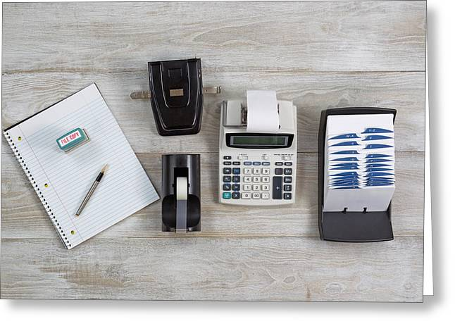 Office Space Greeting Cards - Business Objects on Wooden Desktop  Greeting Card by Tom  Baker