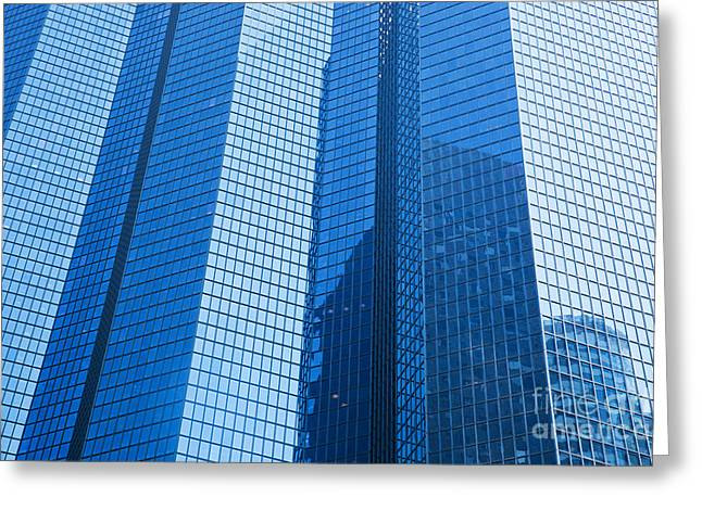 Enterprise Photographs Greeting Cards - Business skyscrapers modern architecture in blue tint Greeting Card by Michal Bednarek