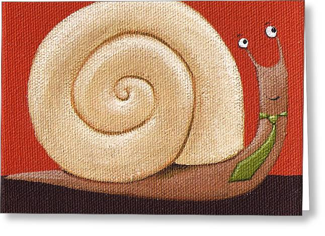 Snail Greeting Cards - Business Snail Painting Greeting Card by Christy Beckwith