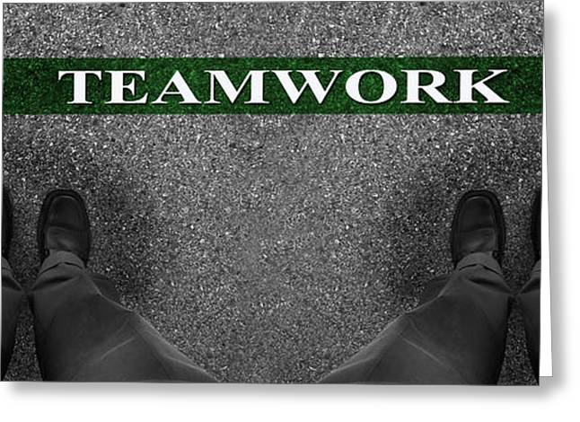 Labelled Greeting Cards - Business Teamwork Greeting Card by Lane Erickson