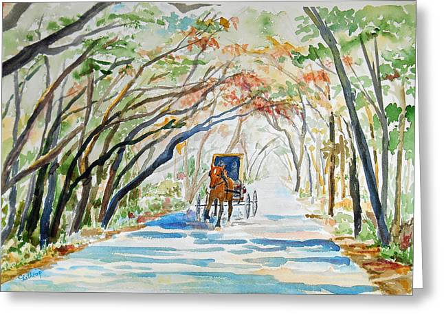 Horse And Buggy Greeting Cards - Business Trip Greeting Card by Christine Lathrop