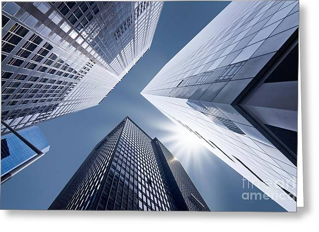 Glass Facades Greeting Cards - Business vertigo Greeting Card by Delphimages Photo Creations
