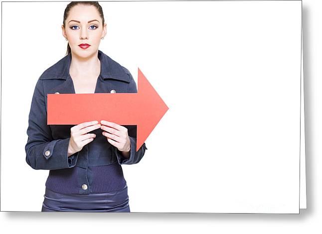 Directional Signage. Greeting Cards - Business Woman Holding Direction Arrow Sign Greeting Card by Ryan Jorgensen