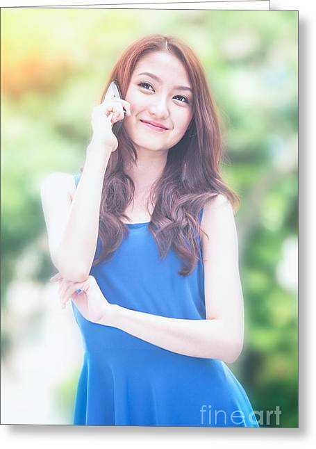 Business Woman Use Mobile Phone Greeting Card by Anek Suwannaphoom