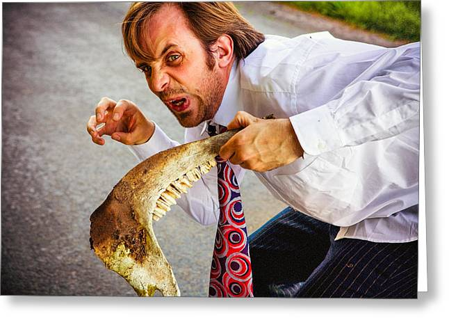Clenched Teeth Greeting Cards - Businessman and Animal Jaw Greeting Card by Instants