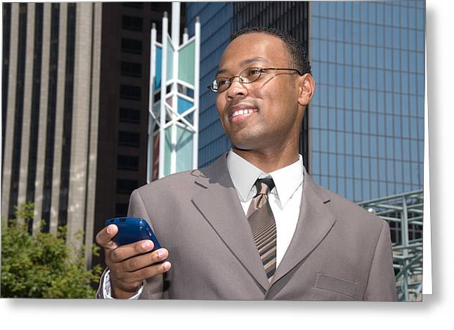 Dialing Greeting Cards - Businessman and cell phone Greeting Card by Joe Belanger