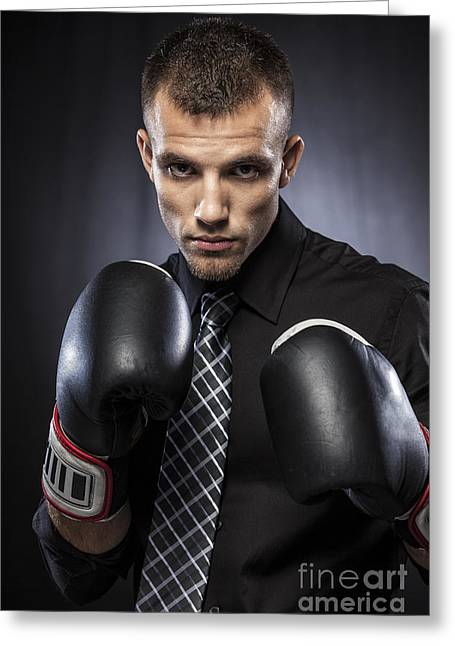 One Young Man Only Greeting Cards - Businessman Boxer Greeting Card by Juan  Silva