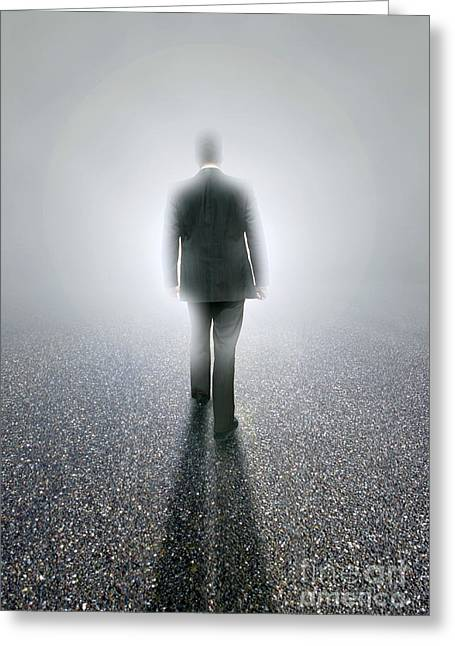 Ilustration Greeting Cards - Businessman Disappearing Into The Mist Greeting Card by Mike Agliolo