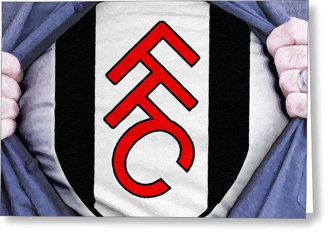Footie Greeting Cards - Businessman Fulham Fan Greeting Card by Antony McAulay