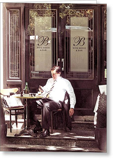 Cafe Pyrography Greeting Cards - Businessman in cafe Greeting Card by Girish J