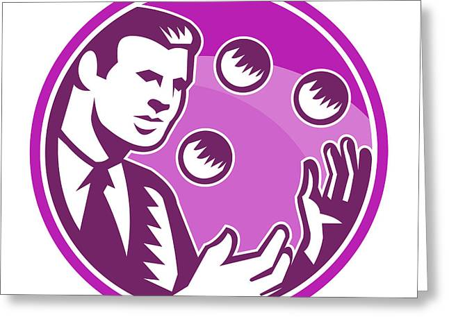 Businessman Juggler Juggling Balls Retro Greeting Card by Aloysius Patrimonio