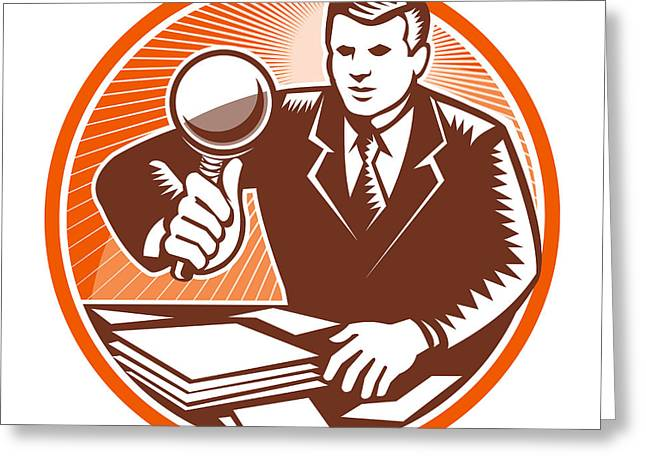 Scrutiny Greeting Cards - Businessman Magnifying Glass Looking Documents Greeting Card by Aloysius Patrimonio