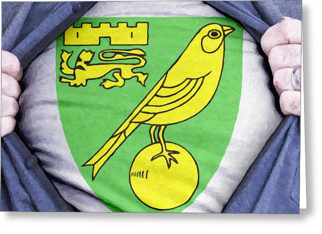 Footie Greeting Cards - Businessman Norwich City Fan Greeting Card by Antony McAulay