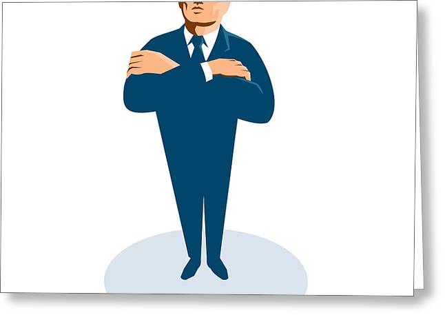 Bouncer Greeting Cards - Businessman Secret Agent Arms Crossed Greeting Card by Retro Vectors