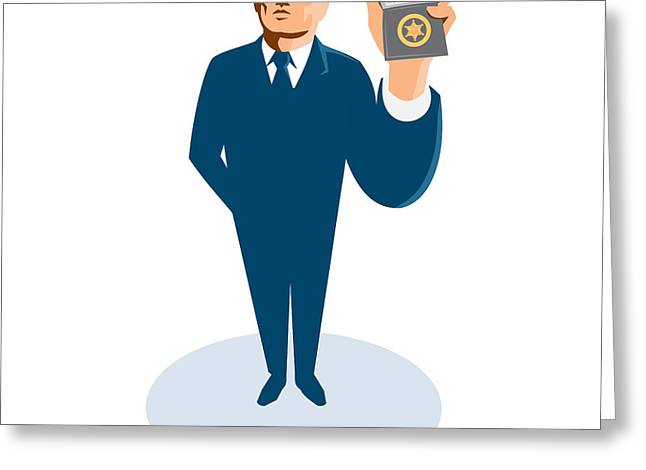 Bouncer Greeting Cards - Businessman Secret Agent Showing Id Card Badge Wallet Greeting Card by Retro Vectors