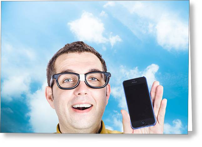 Endorse Greeting Cards - Businessman showing blank smartphone Greeting Card by Ryan Jorgensen