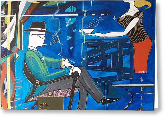 Businessman Sitting In Chair Greeting Card by John Lyes