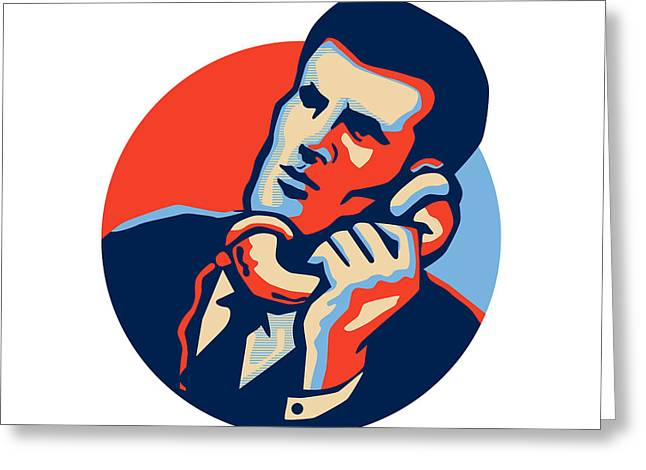 Businessman Talk Telephone Retro Greeting Card by Aloysius Patrimonio
