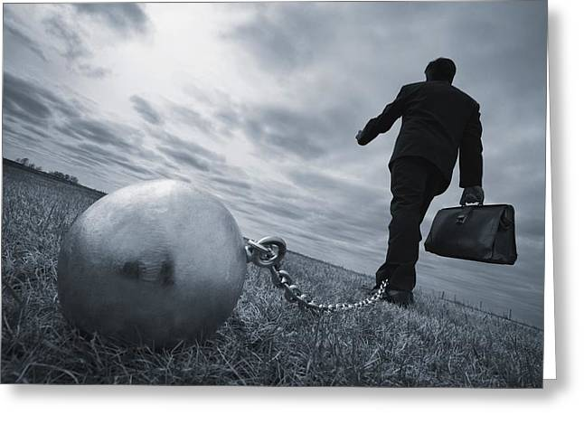 Obligation Greeting Cards - Businessman With Ball And Chain Greeting Card by Don Hammond
