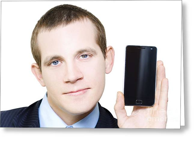 Businessman With Blank Screen Smartphone In Hand Greeting Card by Jorgo Photography - Wall Art Gallery